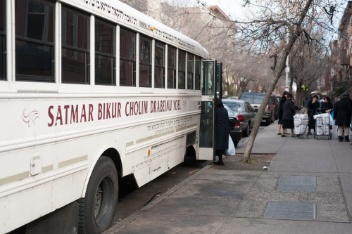 Bikur Cholim bus for food packages. Photo Cred: Mark Hanover