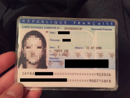 A fake French ID card.